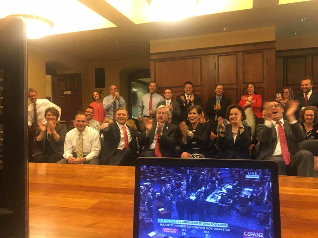 Surrounded by family and staff, @TerryBranstad watches the US Senate confirm his nomination #iagov #ialegis https://t.co/kU3o1KTCR4