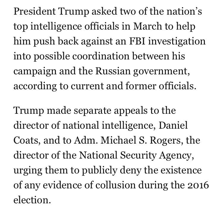 After Comey confirmed FBI's Russia/collusion probe, Trump asked intel chiefs to publicly deny any evidence existed https://t.co/pFNBkb6zEF