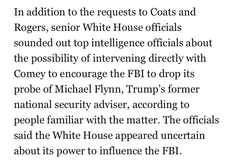 White House officials also echoed Trump, asking intel officials for help getting Comey to drop FBI's Flynn probhttps://t.co/pFNBkb6zEFe