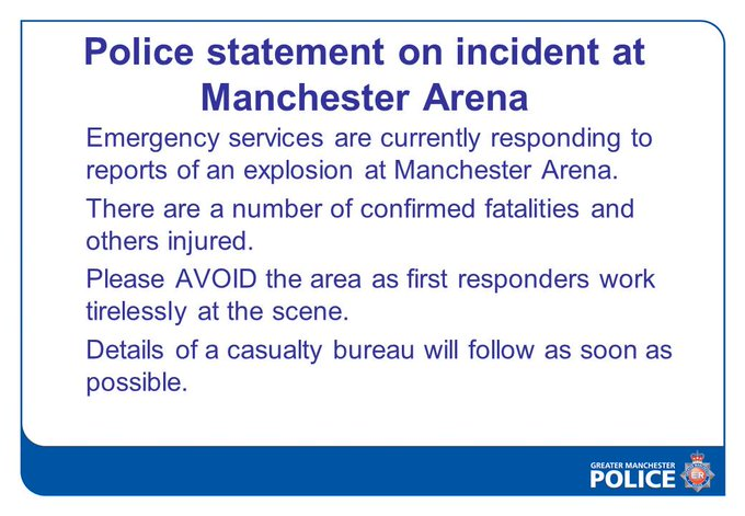 Police statement on incident at Manchester Arena