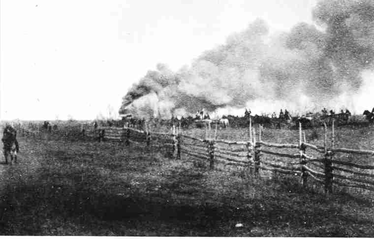 'Batoche burning after shelling - Northwest Resistance 1885' #canada15...