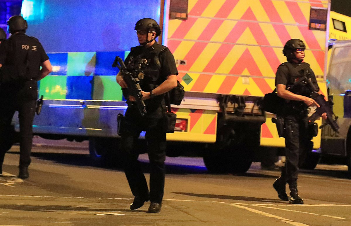 """Police say """"a number"""" of people were killed after explosion in hall outside concert arena in Manchester https://t.co/2JqOIX5czp"""