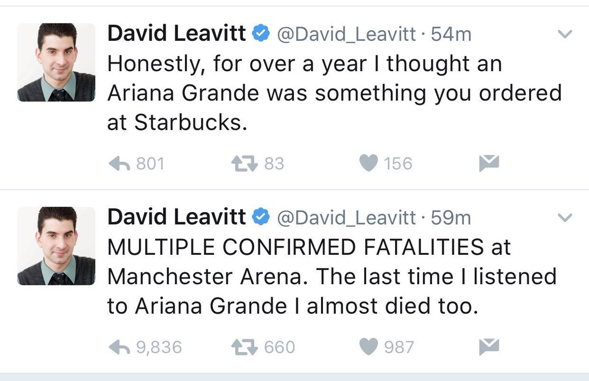 Hey @David_Leavitt here's hoping your career ends today. People lost their lives, hundreds hurt and you're an ass. https://t.co/dUq2u4iJEs
