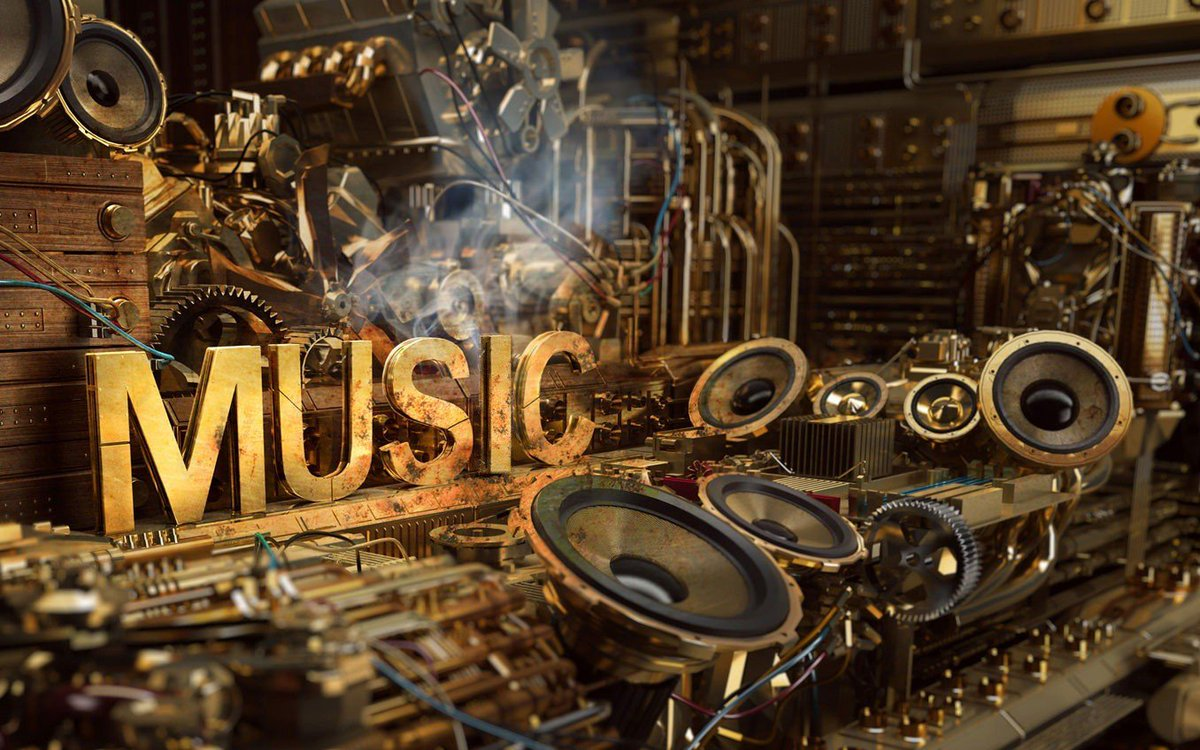 #wallpaper #music, #Music is Life, #steampunk, #typography, #speakers, #smoke, #digital art