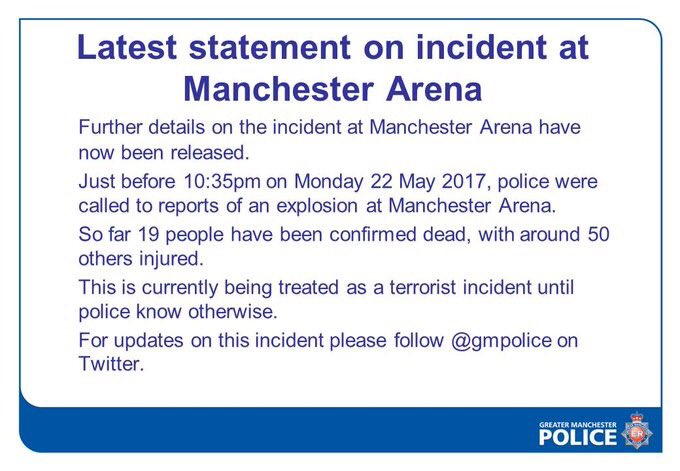 #BreakingNews: read below for the latest details. Pray for Manchester....