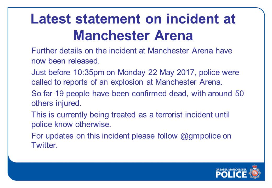 19 confirmed dead following explosion at Ariana Grande concert: https:...