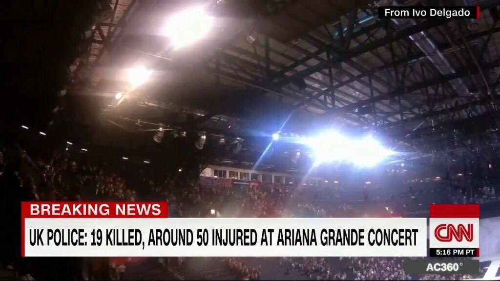 Update: 19 reported dead from explosion at Manchester arena https://t....