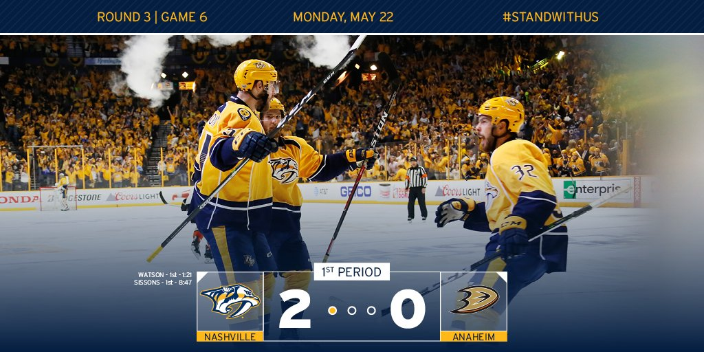20 minutes down, 40 to go. #Preds lead 2-0. #ANAvsNSH https://t.co/UQ8...