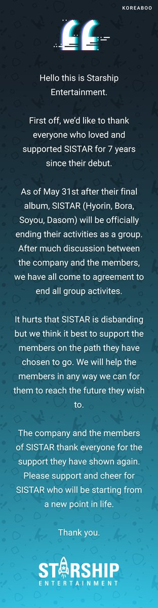 Starship Entertainment's statement on SISTAR's disbandment, translated...
