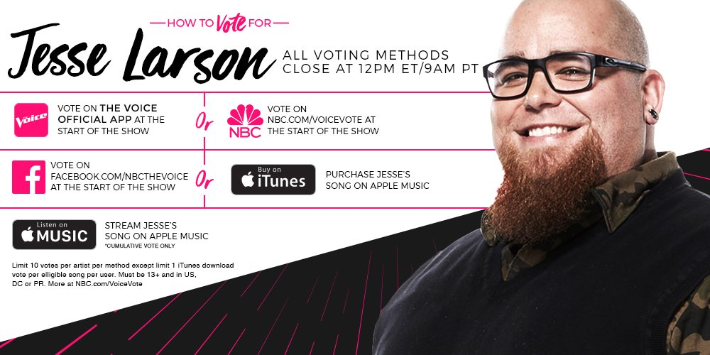 RT if you want @JLarsonguitar to be named #TheVoice and he's got your...
