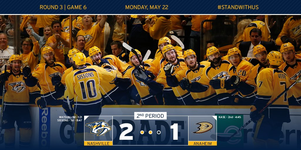 40 minutes down, 20 to go. #Preds holding a 2-1 lead! #ANAvsNSH https:...