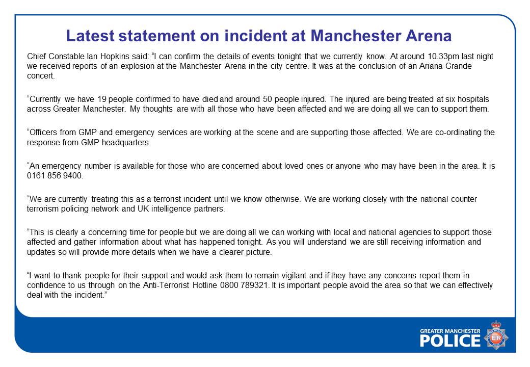 Latest statement on incident at Manchest...