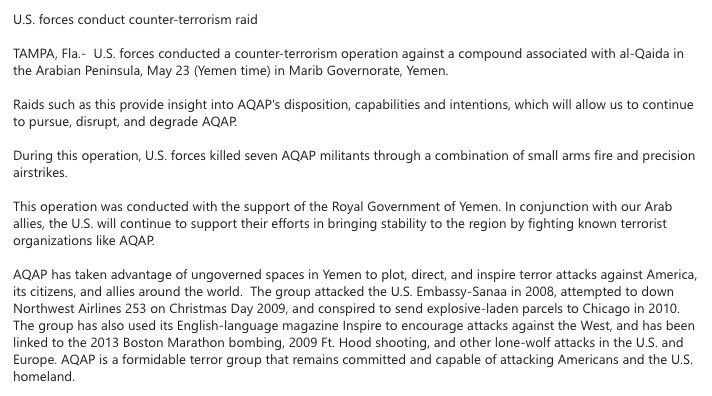 CENTCOM announces new CT raid against a suspected AQAP target, this time in Mareb province.