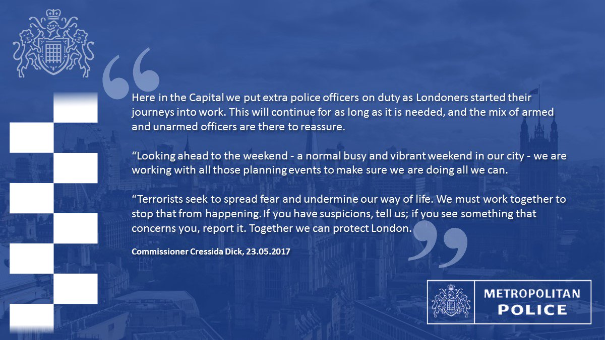 Commissioner Cressida Dick's advice to those in #London following the tragic events in #Manchester last night