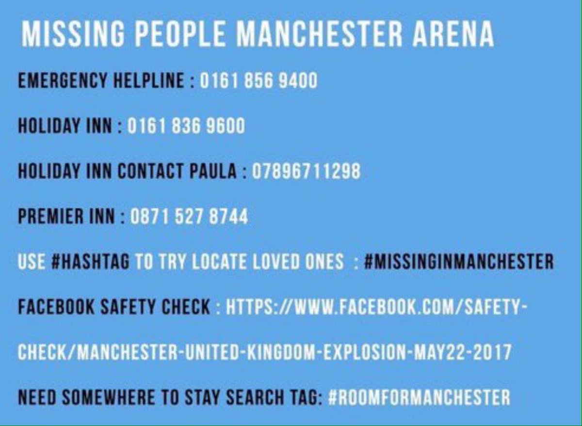 Important contact details or those affected in #Manchester #StandTogether #RetweeetPlease x <br>http://pic.twitter.com/qR0L2wvd2S