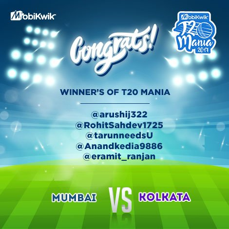 Congrats @arushij322 @RohitSahdev1725 @tarunneedsU @Anandkedia9886 @eramit_ranjan DM us your email &amp; number to get #Reward #T20Mania #MIvKKR <br>http://pic.twitter.com/031CI5hwad