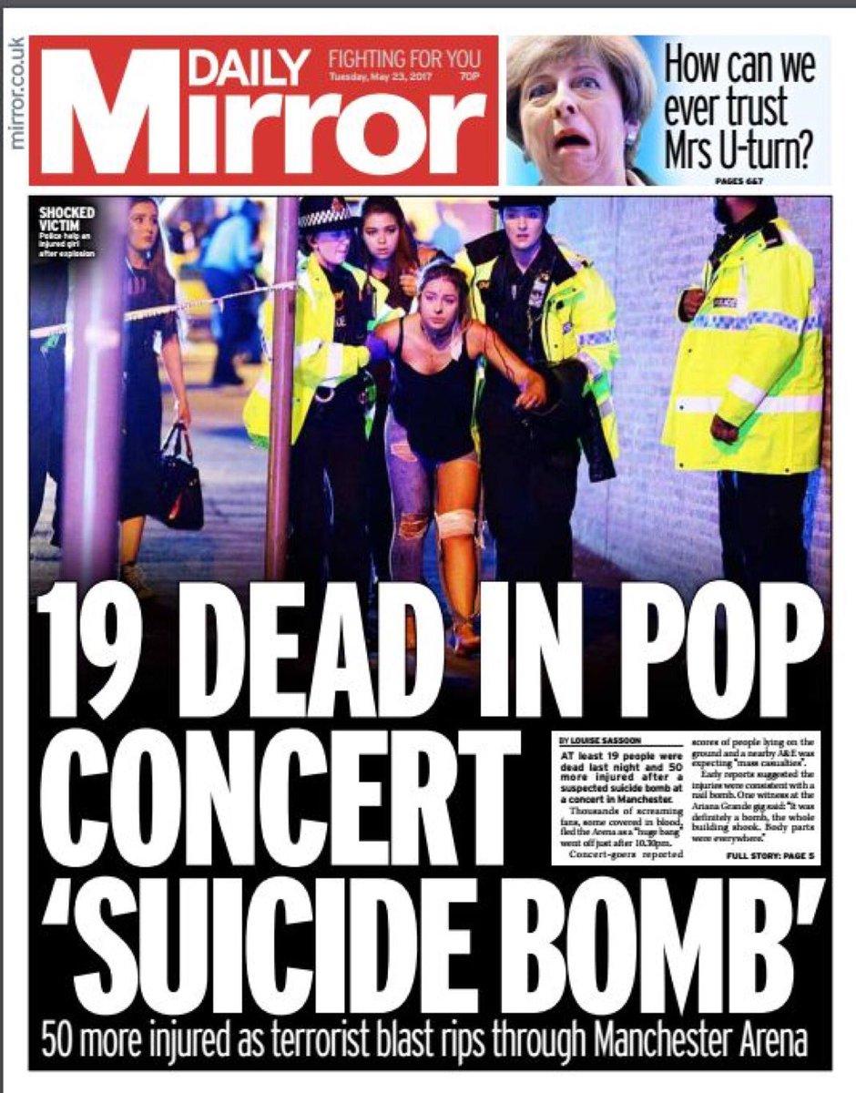 Cette photo symbole de l'attaque à Manchester fait la une de plusieurs quotidiens britanniques.