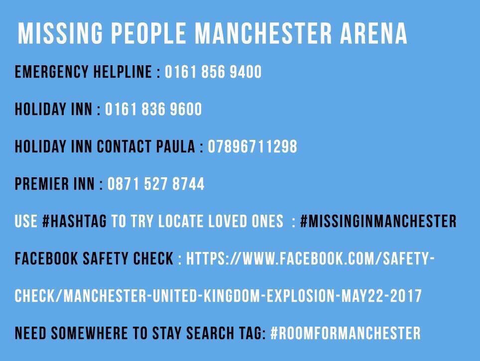 Important contacts #manchesterattack https://t.co/46wIk2SJei