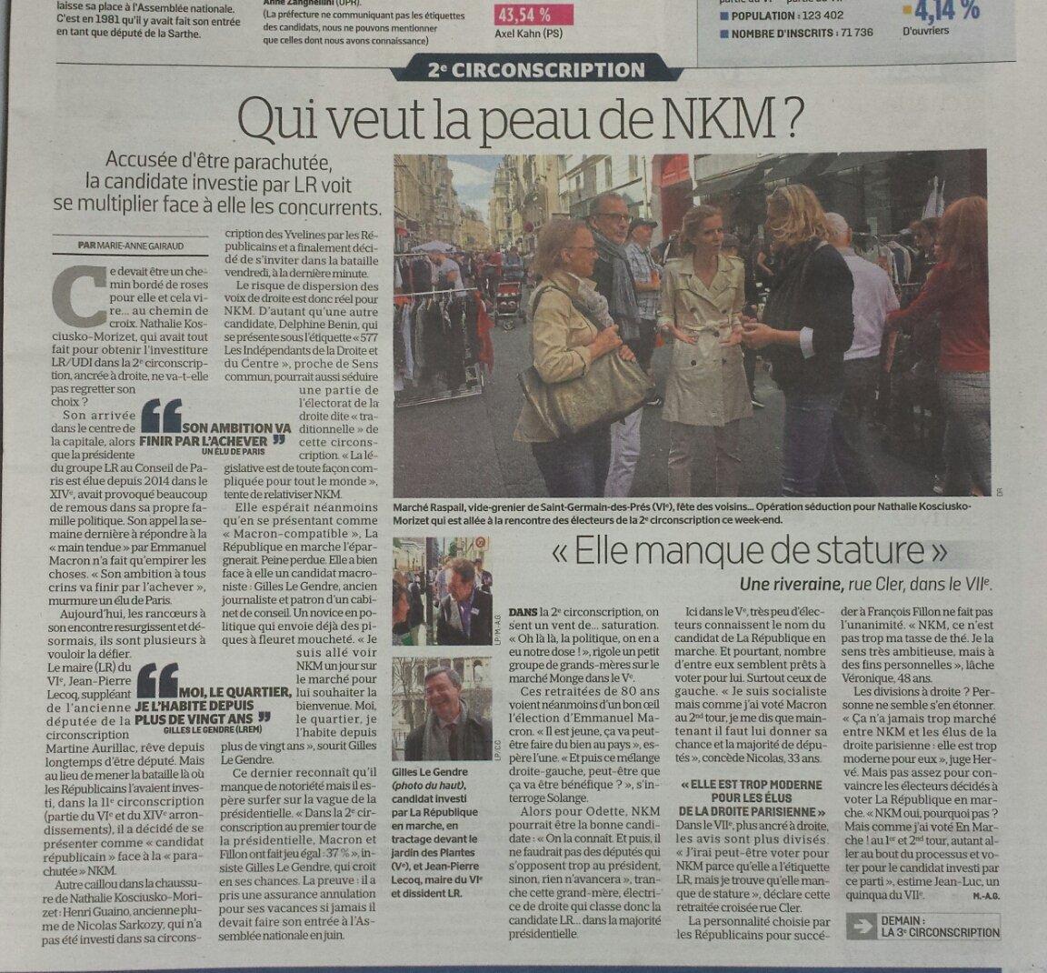#Le Parisien 23052017 : Qui veut la peau de NKM ? La compétence dérange, l'establishment inquiet. @nk_m brillante candidate je vote oui.pic.twitter.com/cS9NbIqOxJ