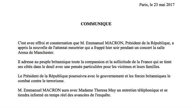 Attentat de #Manchester : Emmanuel Macron exprime 'effroi et consternation' https://t.co/CrINtPyiHK