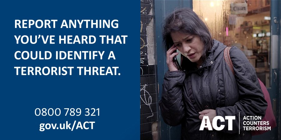 Seen something suspicious? Just ACT. Call 0800 789 321 In an emergency always call 999 #ActionCountersTerrorism