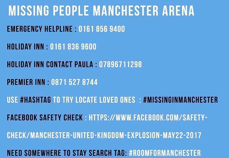 Official contact details for those missing in Manchester. #ManchesterBombing #ManchesterMissing - pls RT https://t.co/XfJsh4TeSP