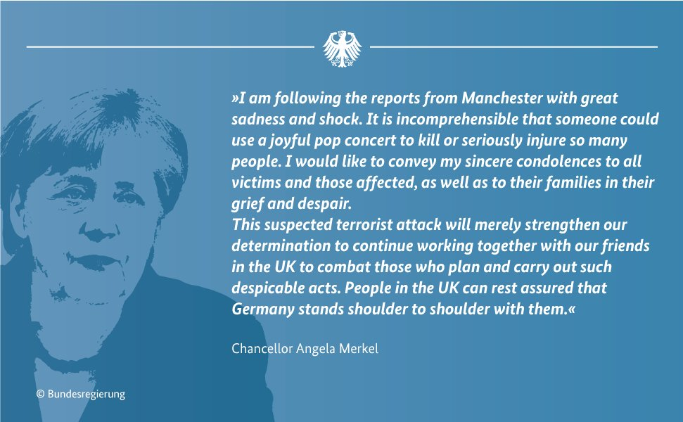 Chancellor #Merkel on the attack in #Manchester: