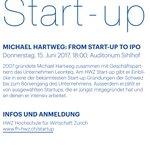 HWZ Start-up Event mit Michael Hartweg - From Startup to IPO. am 15.6.17 an der #fhhwz. Jetzt anmelden! https://t.co/L9t8yC5dy9