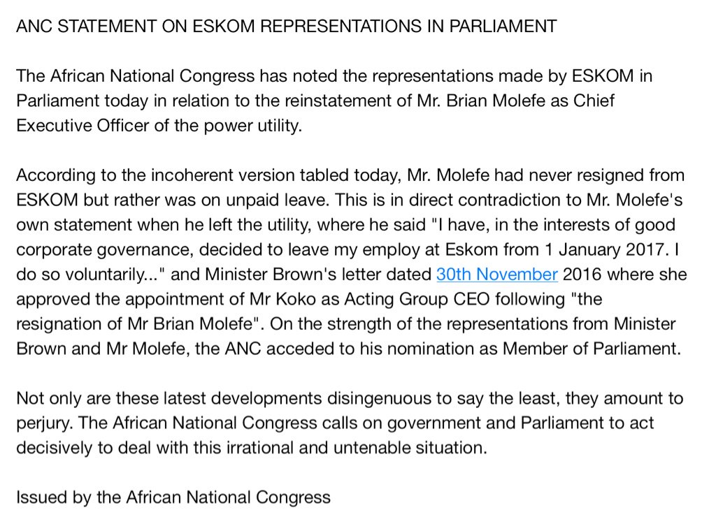 ANC STATEMENT ON #ESKOM REPRESENTATIONS IN PARLIAMENT https://t.co/XmUu0G4gHq