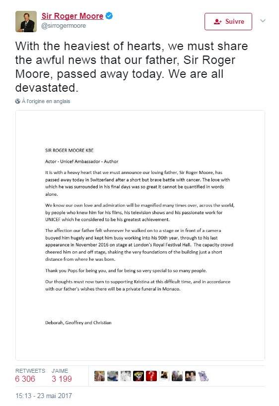 Décès de l'acteur Roger Moore à l'âge de 89 ans (famille) #AFP