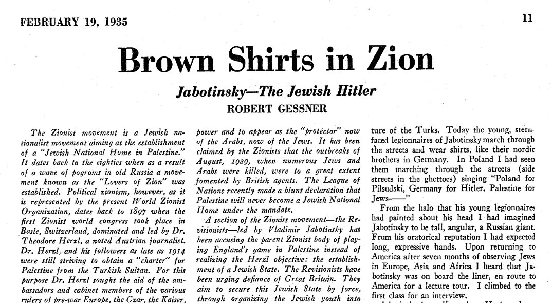 #Russian #godfather of #Israel&#39;s #Likud party Ze&#39;ev #Jabotinsky was a #fascist who was known as the #Jewish #Hitler. Newspaper article 1935.<br>http://pic.twitter.com/3SaQxINboq