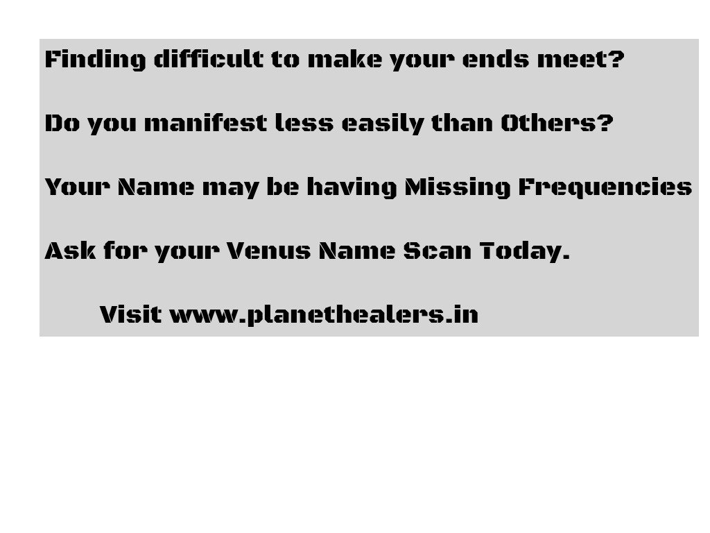 Having #Missingfrequencies in the Name - a Major cause of Low #Manifestation with #LOA. Change Yours today with #venusnamescan<br>http://pic.twitter.com/iASPetL2UQ