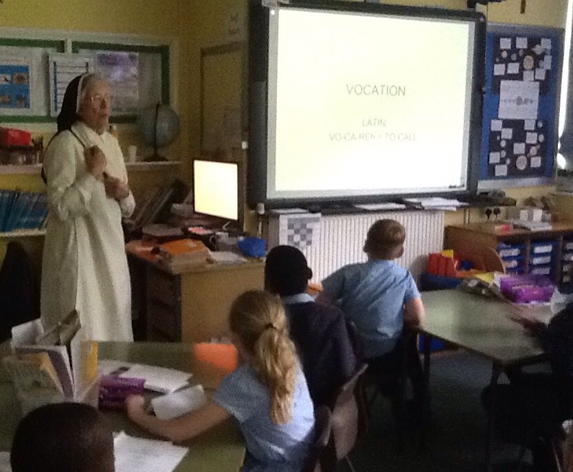 Sister Valery talking about vocations to Year 5 and 6.