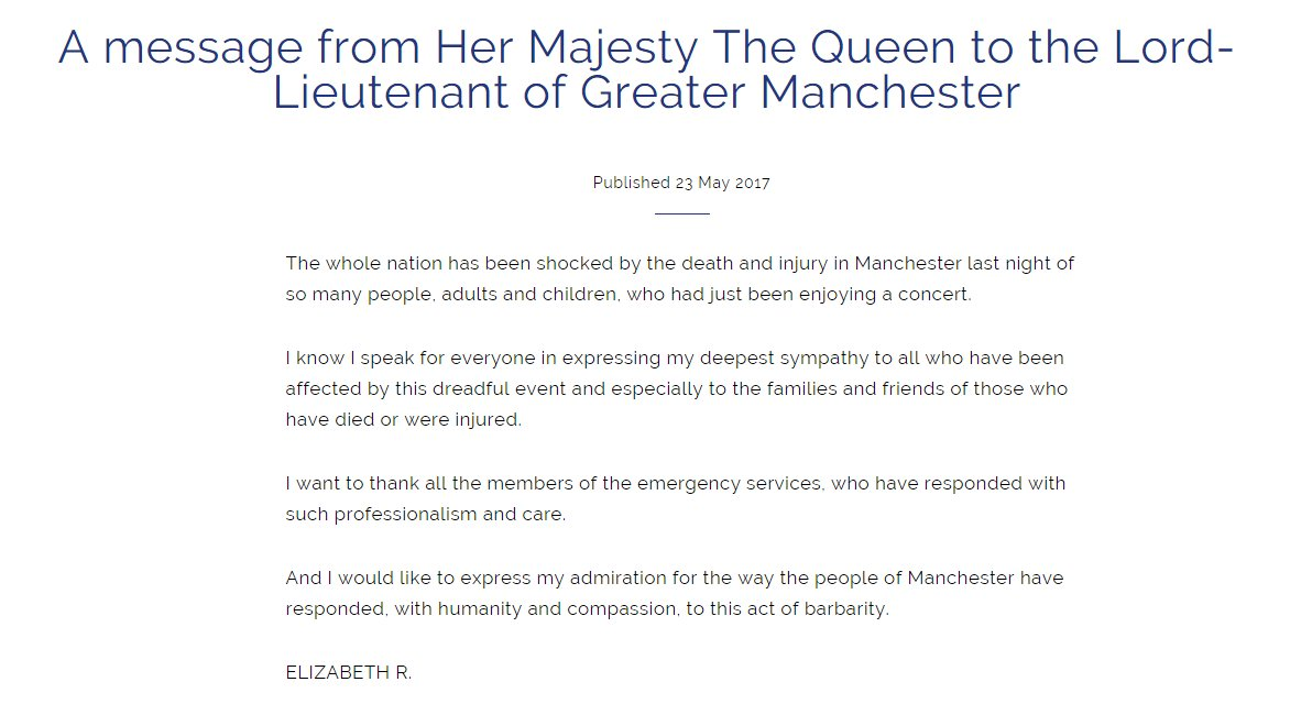 "#Breaking The Queen sends message expressing ""my deepest sympathy"" after Manchester Arena attack"