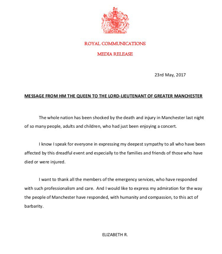 The Queen on #Manchester attack: https://t.co/hCbwvGHFqJ