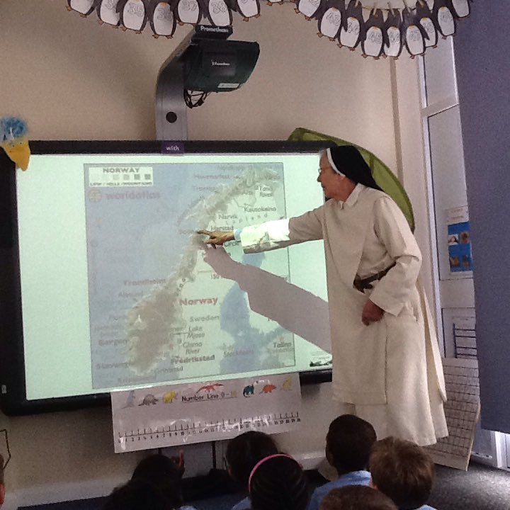 Year One learning about St Dominic from Sr. Valerie.