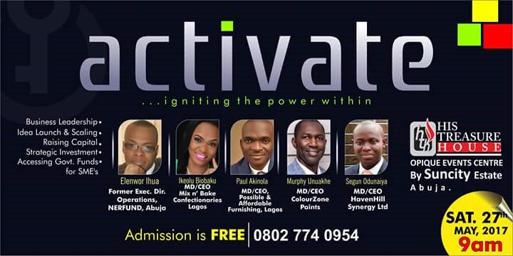 #Activate the power within you with @PGwins @orangee01 @beltow @mixnbake @HH_Synergy @HTHAbuja this Sat. 27 May, 9am #strategic #investments<br>http://pic.twitter.com/o16GPB4f23