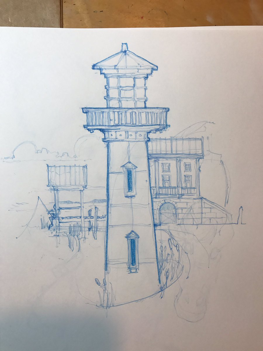 Messing around with another #lowcountry composition #lighthouse #charleston #coastal #sketch #drawing #illustration #doodlebags #art<br>http://pic.twitter.com/yZ4yutCJ89