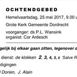 Begin donderdag je dag goed met een ochtendgebed om 09.00 uur #GroteKerk #Dordrecht #Hemelvaartsdag #2017