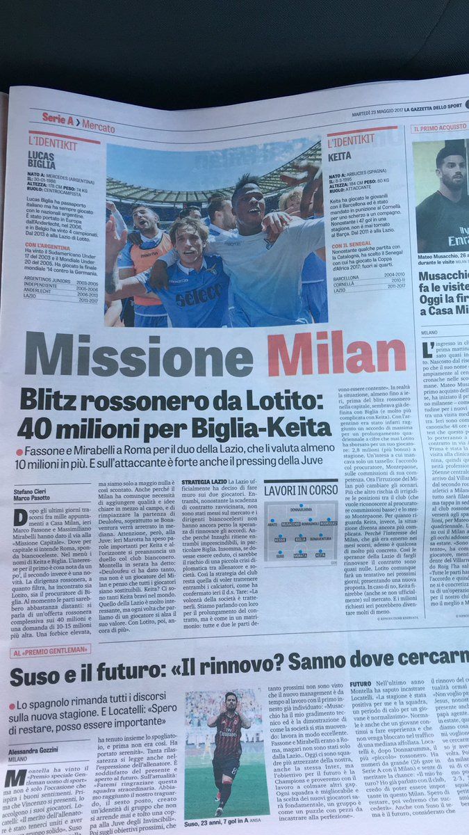 According to @GazzettaWorld #ACMilan is ready to offer #Lazio €40 million for #Keita and #Biglia.  RT if you are excited Like if you are not<br>http://pic.twitter.com/8VmXxsYQ3V