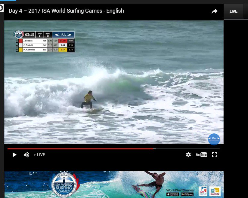 Scotland's Mark Cameron unlucky not to make it thru R1 at World Surfing Games today. Good luck to him & rest of team in repechage tomorrow..