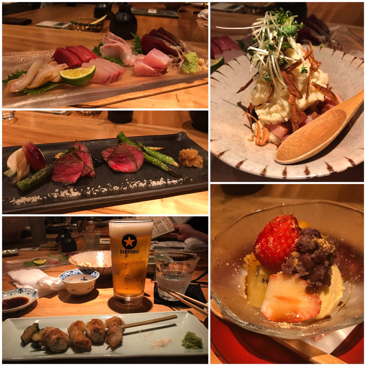 final japanese dinner and we saved one of the best for last 🍣🍖🍺🍚🍨 http...