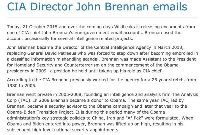 Obama's last CIA head John Brennan is currently testifying before Congress. His emails were published by WikiLeaks https://t.co/GC22Cx3gtn