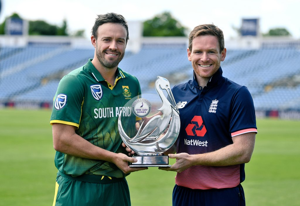Game on!  @ABdeVilliers17 and @Eoin16 with the series trophy. Who's ta...