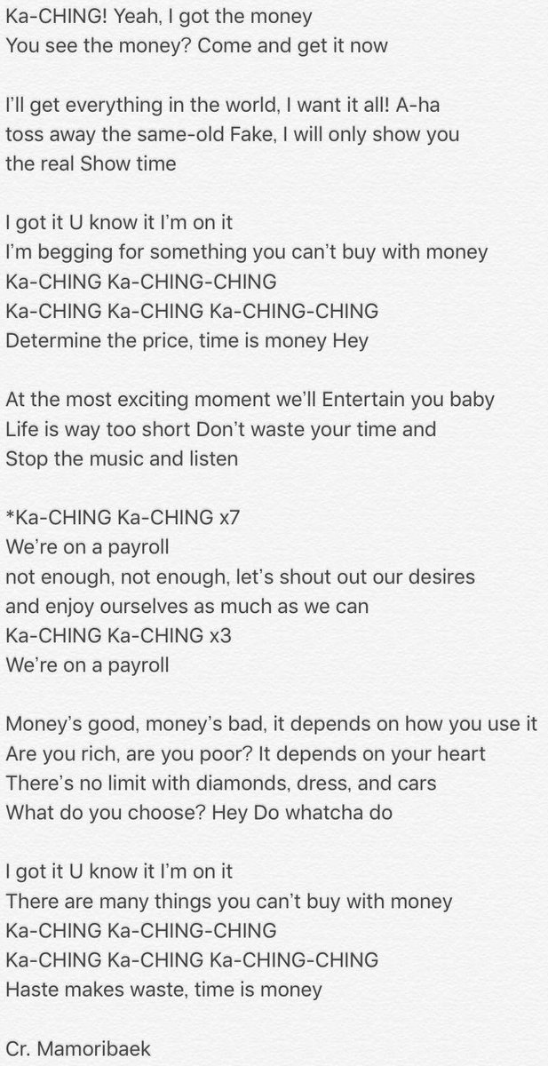 [英訳] Revised English translation for Ka-CHING by #EXO-CBX! So glad the official lyrics were released so I could complete this! #cbx <br>http://pic.twitter.com/juyBi8Rjsx