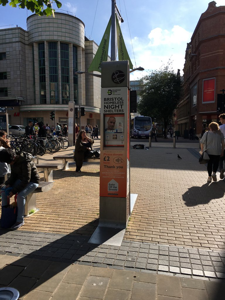 I have no idea if this is new, but noticed this in Broadmead today - contactless donations! What an excellent idea. https://t.co/VVX3k6oUjG