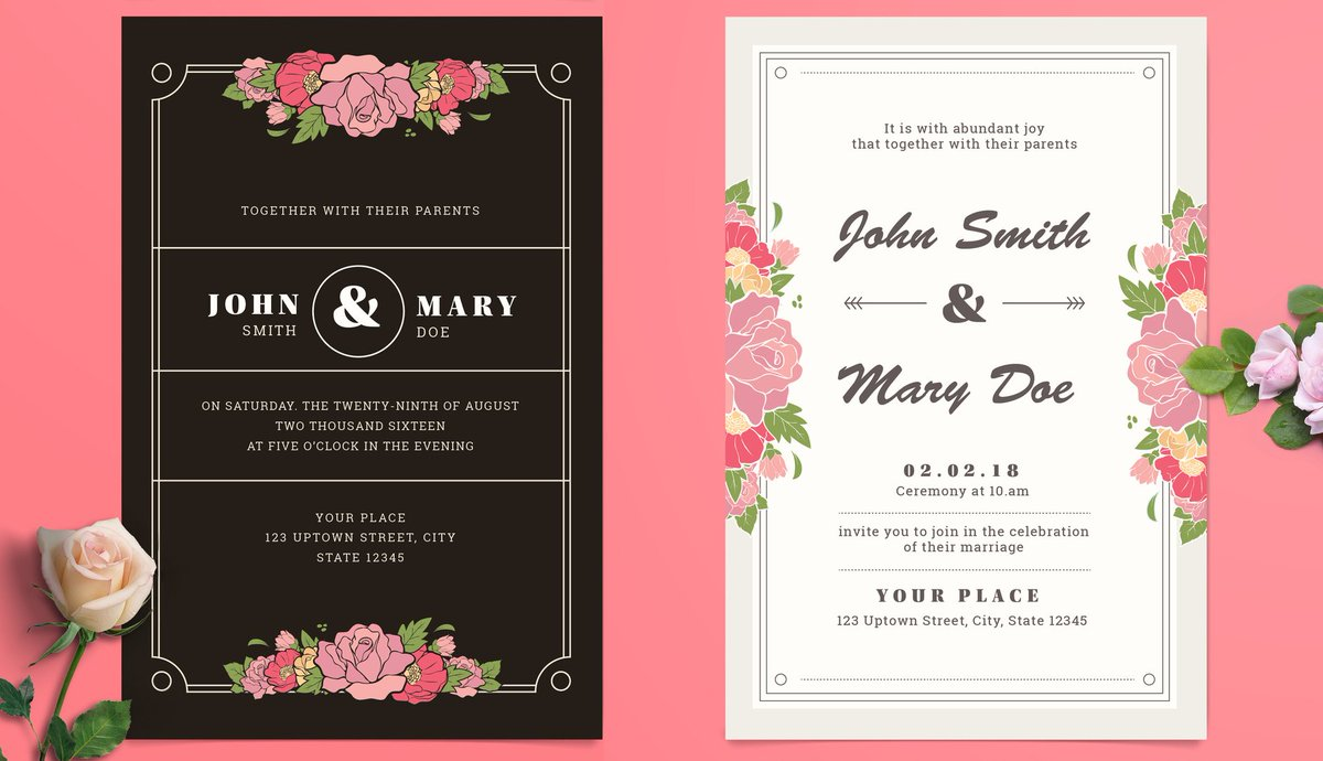 Adobe Illustrator On Twitter Use These Free Wedding Invitation