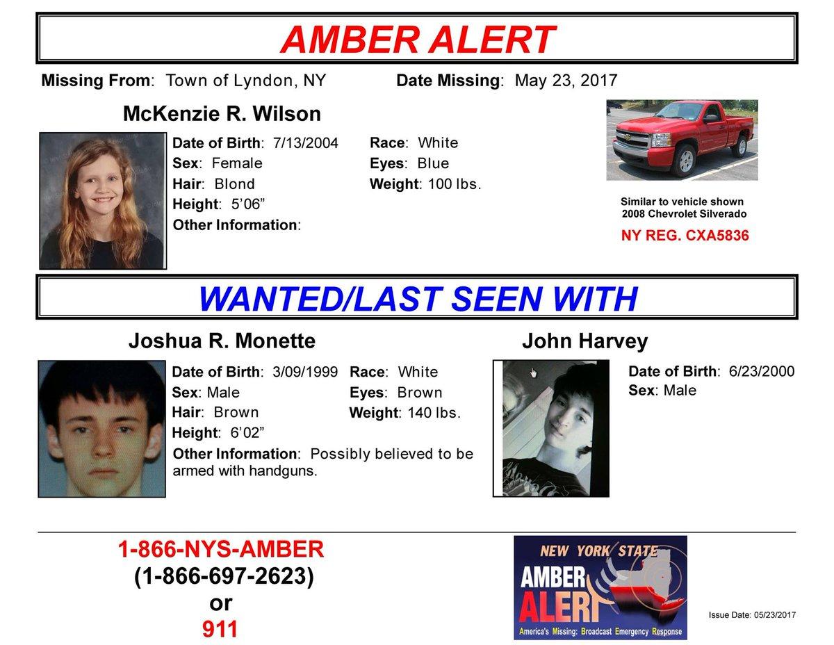 #AMBERALERT - 12 year old girl, McKenzie Wilson, abducted in #Lyndon NY. https://t.co/pBRnKkFYVS https://t.co/6LMoKgbelk