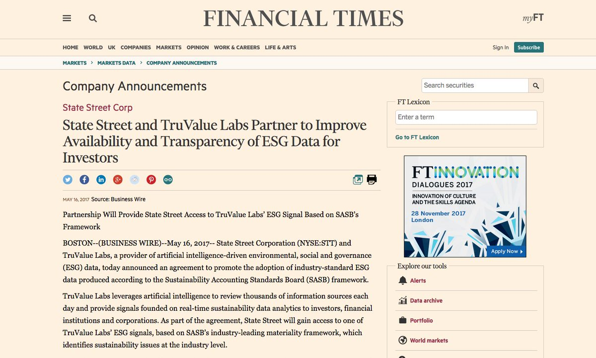 Our @StateStreet partnership news in the @FT. We&#39;re excited to be bringing @SASB&#39;s materiality to timely #ESG data!  https:// goo.gl/TyIWMO  &nbsp;  <br>http://pic.twitter.com/L9UqLSukpY