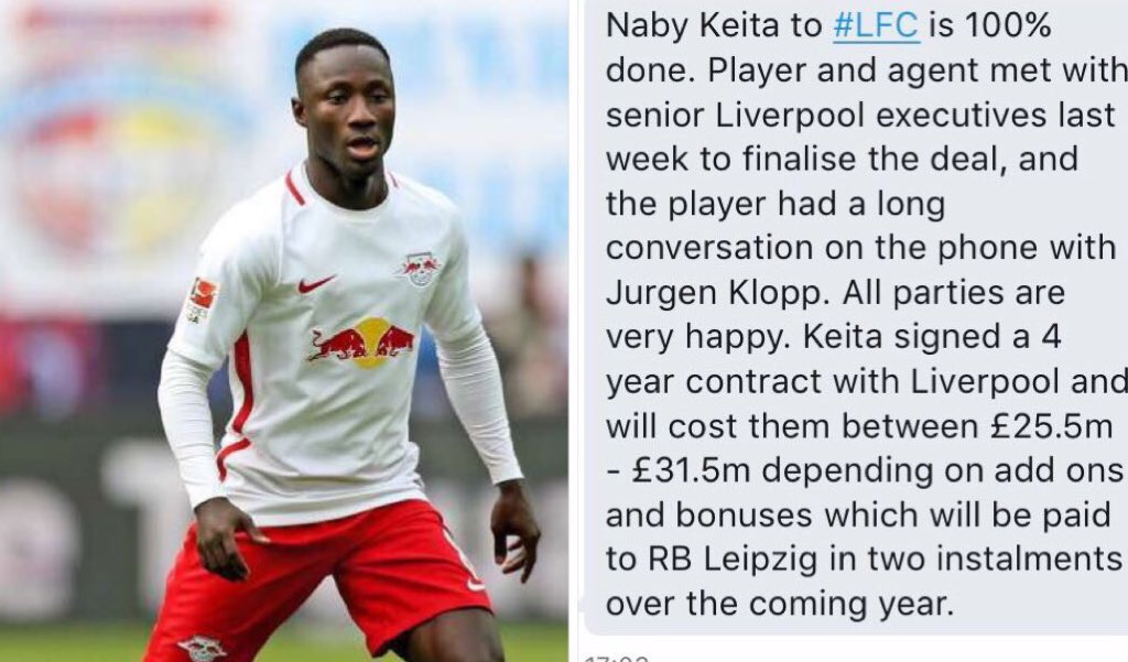 I&#39;ve been told by a super-duper secret source that Naby Keita to #LFC is a done deal. #lfc #LFCfamily #keita <br>http://pic.twitter.com/KIymZncO0N